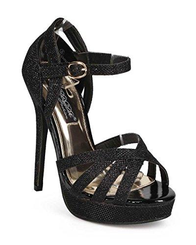 Dbdk Ec43 Donna Glitter Peep Toe Dorsay Caviglia Ritaglio Classico Stiletto Pompa - Nero