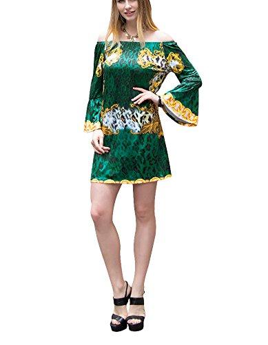 Speaker Dress Maniche Abbigliamento stampa Vestitino foglio del loto di stampa della molla delle donne di modo di marca ( Color : W579Green , Size : S. )