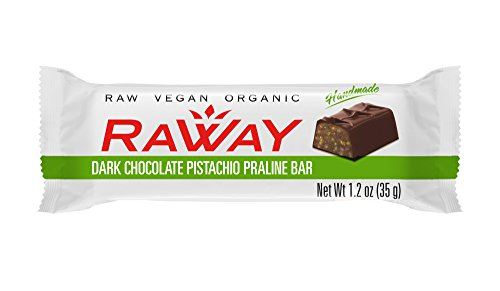 Raway Raw Vegan Chocolate Bars - Dark Chocolate Pistachio Praline - Box 12 Bars by Raway