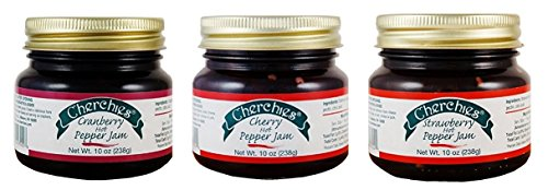 Cherchies Gourmet Hot Pepper Jam Collection Gift Box - Strawberry, Cranberry, Cherry - 10 Ounces Each Jar