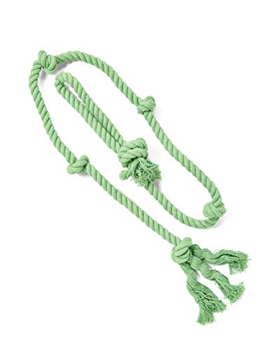 (Tumbo Tough Tug Rope Dog Toy - (Green 5 ft Long Strong and Durable Rope Pull Toy with Handle) TUG of WAR Dog Toy)