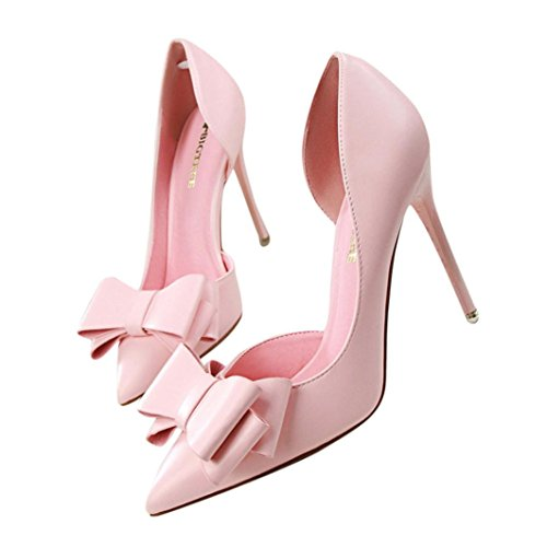Toddler Pink Combo Footwear - YJYdada Women shoes, Women Pumps Sweet Bowknot High Heels Shoes Sexy Thin Pointed Single Shoes (38, Pink)