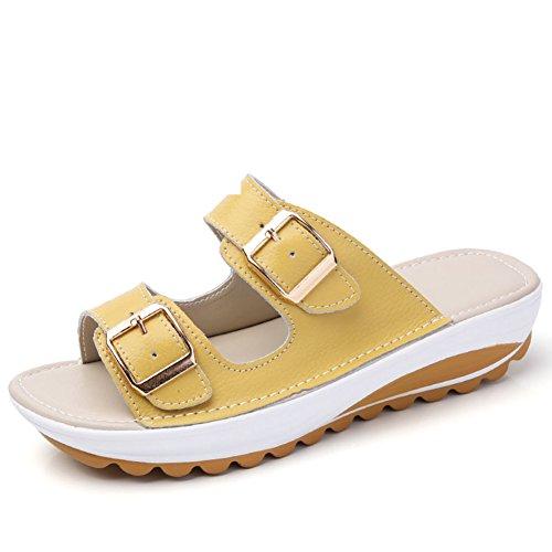 Sandalias De Moda De Playa/Pendientes Y Antideslizante Suave Fondo De Cuero Zapatillas D