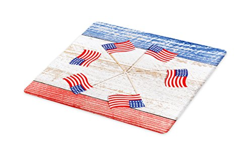 (Lunarable 4th of July Cutting Board, USA Flags Forming a Pinwheel over Rustic Board Patriotic Theme, Decorative Tempered Glass Cutting and Serving Board, Large Size, Navy Blue White)