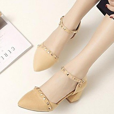 LvYuan-GGX Damen High Heels Komfort PU Sommer Normal Komfort Schwarz Mandelfarben 5-7 cm Almond us7.5   eu38   uk5.5   cn38
