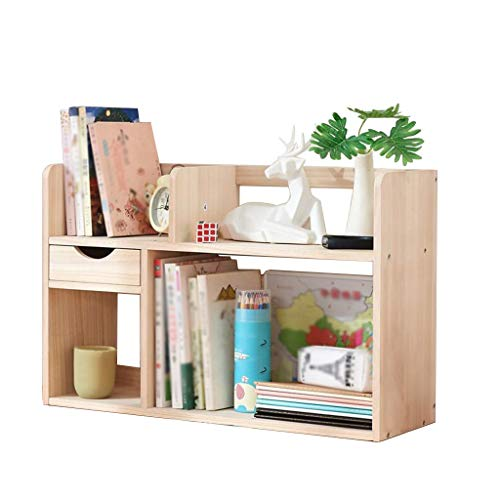 MOOLO Storage Racks Storage Shelf, Desktop Bookshelf Shelving Countertop Bookcase Supplies Wood Desk Organizer Accessories Display Rack (Size : 602039)
