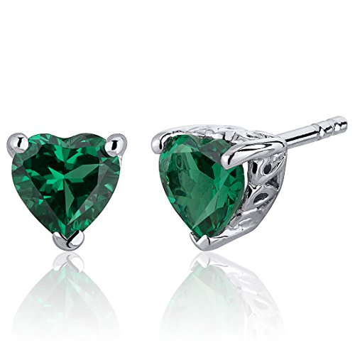 1.50 Carats Simulated Emerald Heart Shape Stud Earrings Sterling Silver