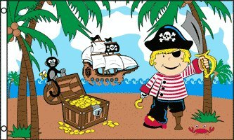 TREASURE ISLAND BOY FLAG 3' x 5' - PIRATE FLAGS 90 x 150 cm