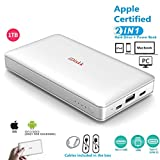 1000GB (1TB) Hard Drive External Storage for iPhone 5/6/7/8,X,XR,XS MAX,new iPad Pro and MacBook and PC,USB+USB C Data Photos Backup Flash Drive (APP management for iOs 7/8/11/12),iDiskk MFi Certified