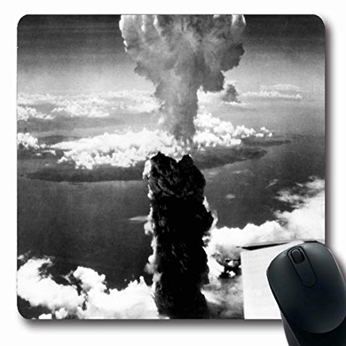 Ahawoso Mousepads for Computers Mushroom Nuclear Atomic Bomb Cloud Rises More Nagasaki War Enola Gay Air Design 29 Oblong Shape 7.9 x 9.5 Inches Non-Slip Oblong Gaming Mouse Pad