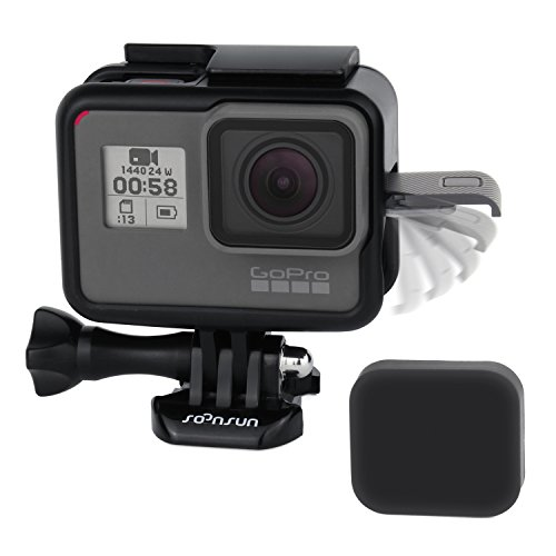 SOONSUN Frame Mount Housing with Lens Cover for GoPro Hero 5 Black Camera - Strong Structure and all Slots Fully Accessible