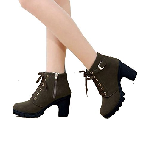 Fashion Brand Best Show Women's Ankle Bootie Platform High Heel Cut-Out Side Lace Up Hiking Military Boots Outdoor Work Shoes