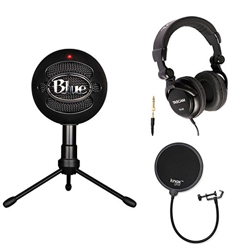 Blue Microphones Snowball iCE Condenser Microphone (Black) with Studio Headphones and Knox Pop Filter