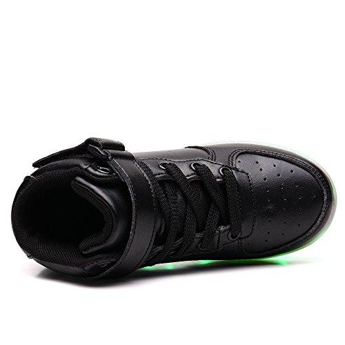 Zapatillas para niños Vilocy unisex con luces intermitentes, carga mediante USB, 7colores LED negro