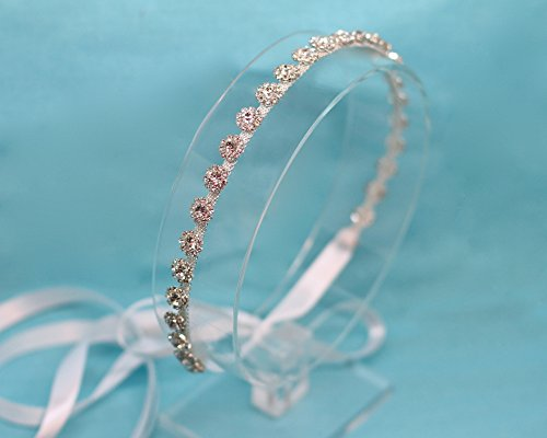 Petite Belle Fleur Silver Tone Ribbon Tie Back Wedding Headband by The Ivory Willow