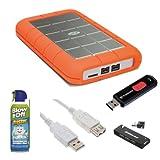 LaCie Rugged Hard Disk Triple (USB 3.0, 2-ports FW800) 2TB External Hard Drive + Transcend 4GB JetFlash 500 USB 2.0 Flash Drive + Accessory Kit
