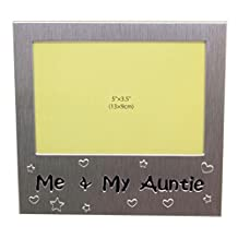 Me and My Auntie - Photo Picture Frame Gift - Will take a photo of 5 x 3.5 Inches (13 x 9 cm) - Brushed Aluminium Satin Silver Color.