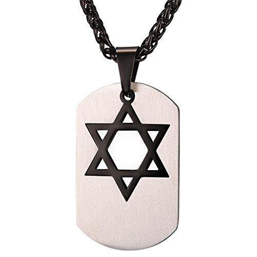 U7 Men Layered Stainless Steel Dog Tag Black Star of David Necklace Pendant with Black Rope Chain 22 Inch