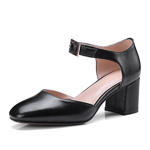 AN Womens Hollow Out Chunky Heels Square Heels Metal Buckles Leather Sandals DIU00596 Black Ow5AVs6