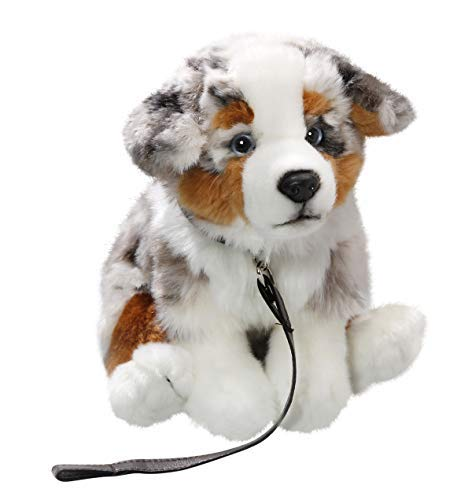 Carl Dick Australian Shepherd Dog with Lead 10.5 inches, 25cm, Plush Toy, Soft Toy, Stuffed Animal 3428