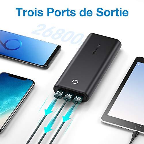 POWERADD EnergyCell 26800 Batterie Externe Puissante avec 3 USB Sorties Total 5V/6A et 2 Entrée Total 5V/4.2A Recharger Rapidement Power Bank pour Nintendo, Samsung, Xiaomi, iPhone, Huawei etc.