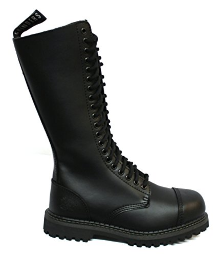 Grinders King Black Mens Unisex Safety Steel Toe Cap Military Punk Boots 90wxE