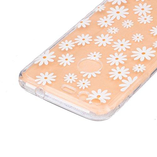Trumpshop Smartphone Carcasa Funda Protección para Google Pixel XL (5.5 Pulgadas) + Bad + Ultra Suave TPU Silicona Resistente a arañazos Caja Protectora Flor transparente