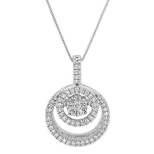 Parade of Jewels 10k White Gold Genuine Dancing Diamond Circle Pendant Necklace (1/4 cttw, J-K Color, I2-I3 Clarity), 18