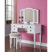 Poundex Vanity w/ Stool, White By Poundex