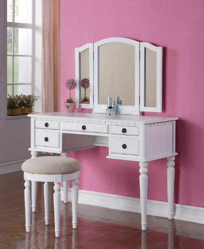 3 pc White finish wood make up bedroom vanity set with curved legs stool and tri fold mirror with multiple drawers