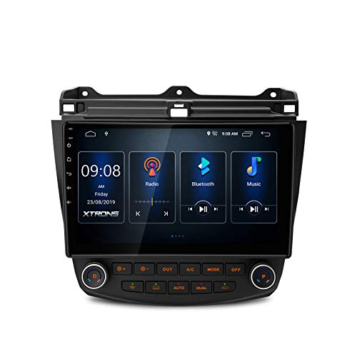 XTRONS Android 9.0 Car Stereo Radio Player 10.1 Inch IPS Touch Screen GPS Navigation Built-in DSP Bluetooth Head Unit Supports Full RCA Output Backup Camera WiFi OBD2 DVR TPMS for Honda Accord