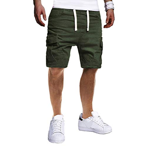 (Men 's Cargo Shorts,Male Summer Casual Solid Short Trouser Bandage Drawstring Pockets Beach Sweatpants)