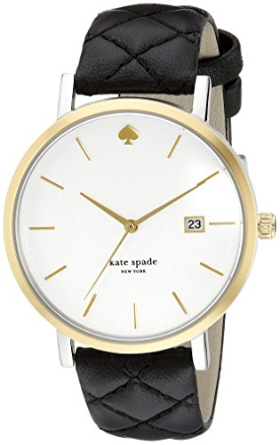 kate spade new york Women's 1YRU0125 Large Metro Grand Watch With Black Quilted Band