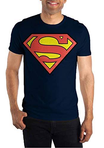 Dc Comic Costume (DC Comics Superman Big Logo Mens Navy T)