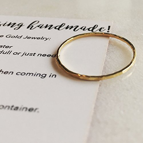Dainty Little Plain Hammered Size 9 14k Gold Filled Ring