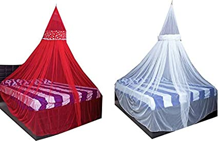 Creative Textiles Combo of Polyester Hanging Double Bed Mosquito Net, Size: King Size (Red+White)