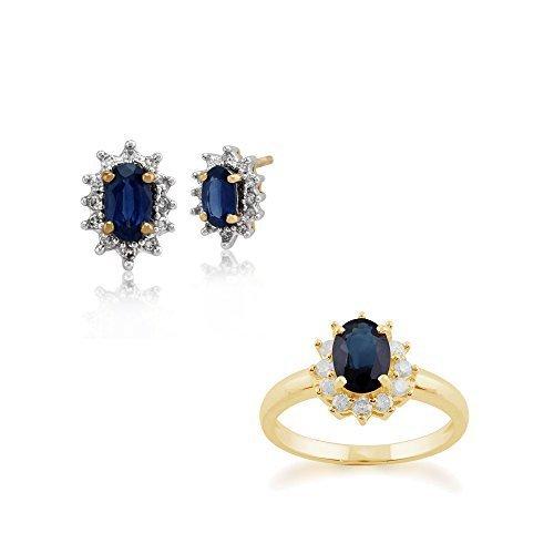 Gemondo 9ct Saphir Or Jaune & Diamant Ovale Serti Clous D'oreilles & Bague Parure