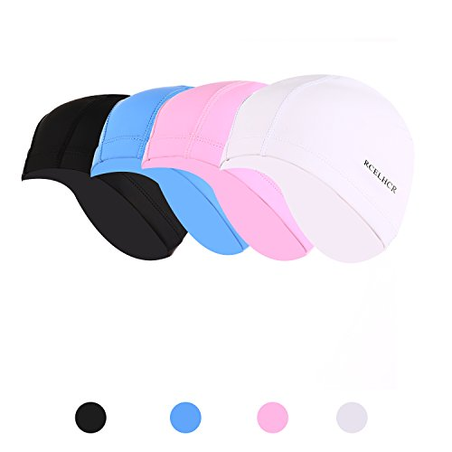 RCELHCR Swim Cap Women Long Hair Swimming Caps Men Waterproof Comfortable Durable (Black)
