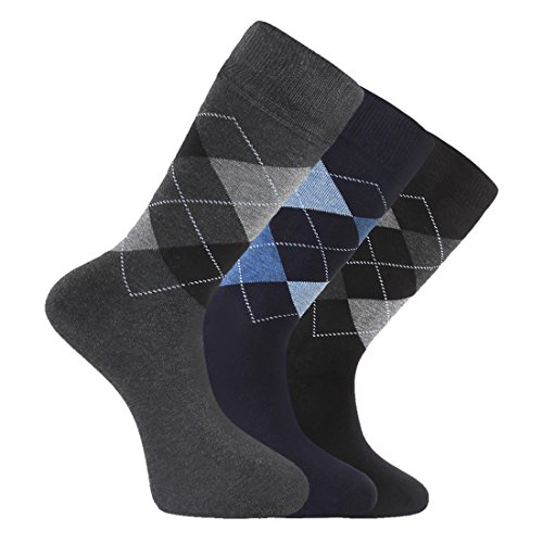 LAETA Men's Colorful Argyle Fancy Design Fashion Dress Socks Crews Size (Navy&Black&Grey 3 Pairs) ()