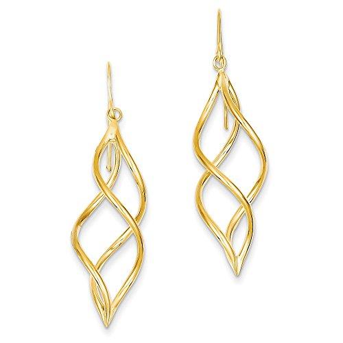 14k Gold Swirl Dangle Earrings (1.81 in x 0.47 - Earrings Dangle 14k Tube