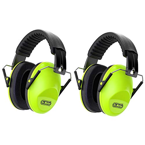 Dr.meter Kids Noise Reduction Earmuffs with 27 NRR Hearing Protection Earmuffs for Shooting Sleeping and Studying, Green-2 Packs