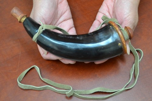 - Black Powder Horn with Leather Strap and End Cap