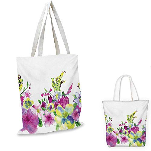 Watercolor Flower canvas shoulder bag Hybrid Garden Floret Composition with Heathers and Stocks Abstract Art canvas lunch bag Pink Green. 12
