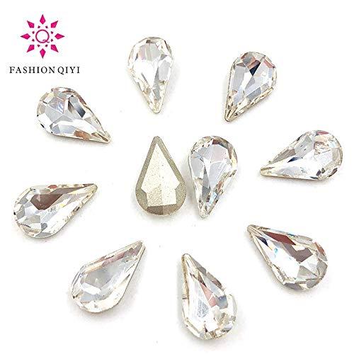 Best Quality - Drop Shape - 50 pcs 5X8/6X10/8X13mm Clear White Teardrop pointback pear Shape Glass Crystal Rhinestones DIY Nail/Clothing Accessories - by Olwen Shop