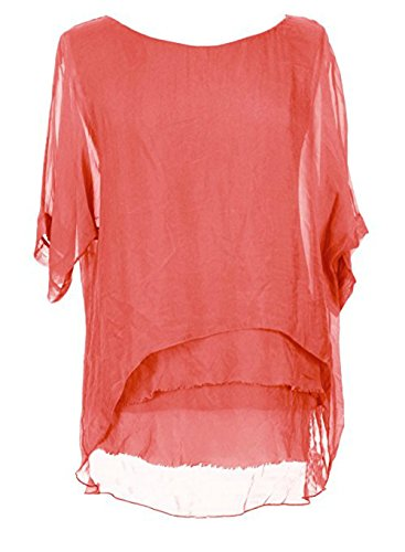 Sevello Clothing Womens Italian Short Sleeve Frill Silk Tunic Blouse USA 6-12 (Coral)