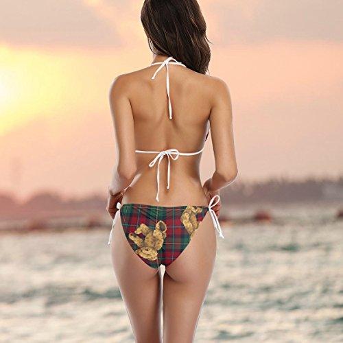 Traje ador piezas multicolor ba o Plaid Bikini dos Oso Ba Woman Alaza de Vichy de 0dOqpwO