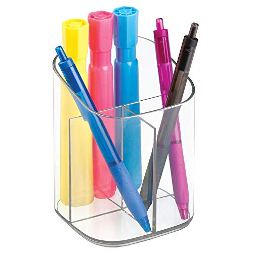 mDesign Plastic Divided Home Office Desk Organizer Holder Cup Caddy - Pen Pot Sorts and Holds Pencils, Pens, Scissors, Highlighters, Paperclips - 3 Compartments - Clear