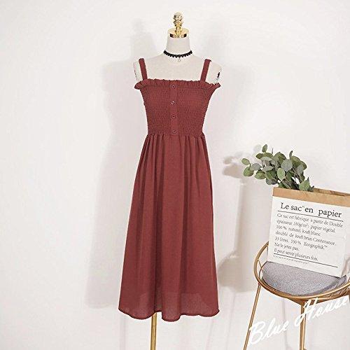 Moyenne Jupe Une Robe Pure red avec MiGMV de Robes Oreille Femelle Longueur de Jupe Mousseline d'linguer Brick Couleur Robe O66aWUnqB