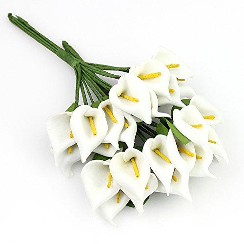 Mini Foam Calla lily Artificial Flowers Bouquet DIY HOME party Decor,Wedding Decoration, Wreaths Scrapbooking Fake Flower (144pcs/lot) 2.5cm (white) ()