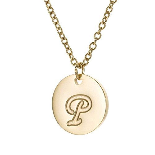 Filled Disc Gold (TTVOVO Initial Letter Necklace Stainless Steel 18K Gold Filled Engraved Personalized Disc 26 Alphabet Monogram Name Charms Pendant Necklace for Women - Letter P)